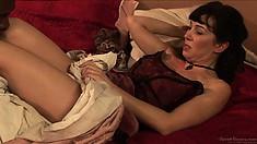 Busty brunette Victorian slut gets her mossy treasure titillated