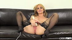 Angela Sommers likes using a vibrator and glass dildo for pussy pleasure
