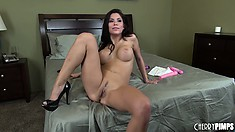 Sexy brunette Aleksa Nicole shows off her hot, fuckable body in bed