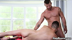 Home massage turns into a hot gay cock sucking, ass rimming good time