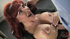 Stacked redhead milf with a huge ass finds comfort and pleasure in that big cock