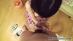 Mamiko He fingers her bald twat and she slurps up his hard bone
