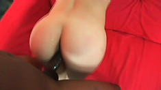 Petite brunette with small ass Dawn Iris learns the feel of big dick