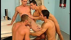Handsome twink gets surrounded by jocks that cum all over him
