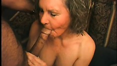 Two grannies get joined by a big black boner and banged up the ass