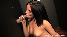 Lusty young bombshell sucks all the cum out of a stranger's stiff prick