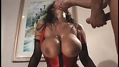 Stacked cougar Ava Devine sighs with delight as they bang her holes at the same time