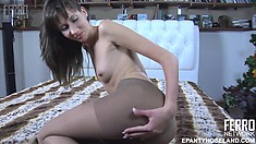 Florence A sticks a butt plug up her ass under her nylons and gets dressed