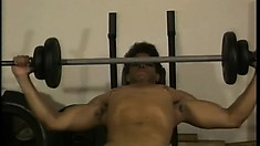 Hung black guy gets naked to work on lifting some mean weights