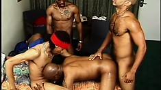 Five hung black guys take turns pummeling a white boy's bitch ass