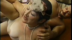 Ancient flapper gets her dusty cunt shattered by a young dong