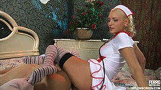 Naughty blonde nurse Amelia seduces Nicholas and he fucks her wet cunt