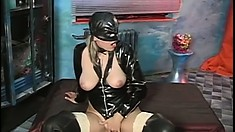 Smoking hot blonde dressed in leather takes a monster fuck stick