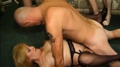 Two hot housewives please each other and get fucked by a bunch of guys