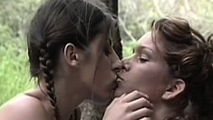 Gorgeous lesbian campers make each other cum in the great outdoors