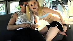 Teasing young chick Drew jumps on a big dick on the back seat