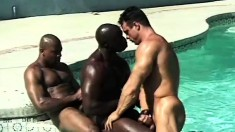 Out in the pool, two black hunks stick their monsters in a tight Latino ass