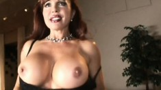 Voluptuous redhead milf in black lingerie takes a hard cock up her ass