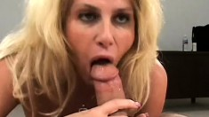 Buxom blonde mom Penny Porsche gets to have some fun with two big rods