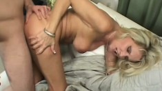 Bridgett Lee has age and experience on this horny young stud