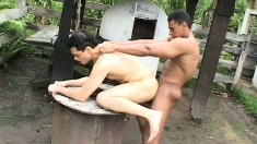 Hung black slave fucks his white owner's tight butt hole outside