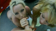 Lucky dude persuades two filthy whores into letting him fuck them