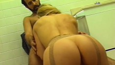 Genie takes her master to see a church couple fucking in the bathroom