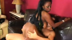 Chubby black broad with an extra large rack goes interracial