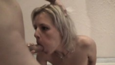 Sensual European blonde shows off her body and takes a dick up her ass