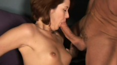Red-haired maud opens mouth wide to swallow warm tasty semen