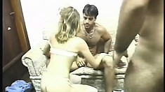 Brazilian amateur in a retro video showing her getting a double penetration