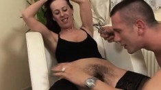 Naughty housewife in black stockings gets her pussy trimmed and fucked