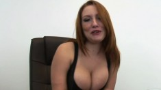 Slutty redhead with a tramp-stamp gets fucking freaky at work
