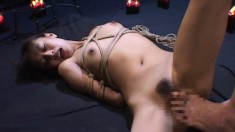With their bodies tied up, these Asian cuties get their cunts fingered