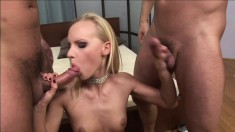 Blonde Gitta takes on two stiffies and gets ass fucked and a DP