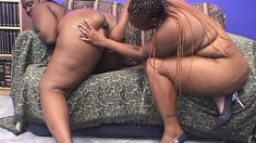 Curvy caramel lesbians please each other's twats and share a black rod