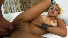 Insatiable blonde Latina works her pussy on every inch of a long shaft