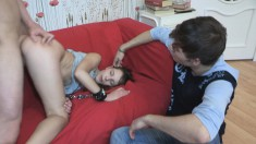 Horny young lovers invite a hung stranger to spice up their relation