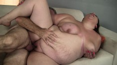 Big babe Bella Bendz is excited to choke on a huge jackhammer