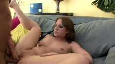 Busty Farrah Rae spreads her hot legs and a big stick invades her cunt