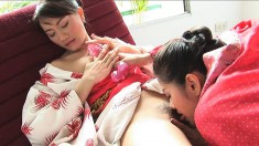 Astonishing Asian girls Mona and Mind indulge in hot lesbian action