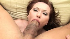 Sultry redhead Katja Kassin welcomes a long rod deep down her throat