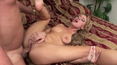 Holly spreads wide to take it up her butt and goes ass to mouth