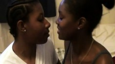 Two sexy black lesbians make the moves to please each other's pussies