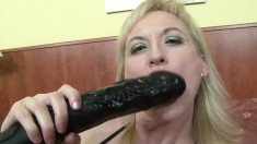 Sultry blonde milf has a black stallion pounding her tight anal hole