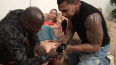 Two slutty babes getting drilled rough by a pair of hung black studs