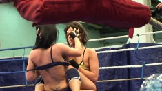Sensual young Honey Demon goes against Melanie Memphis in a nude fight club