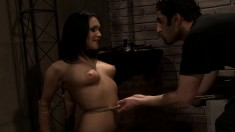 Sultry brunette with perky boobs enjoys a frenzy of pain and pleasure