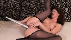 Stunning Babe In Black Stockings Judith Fox Deeply Fists Her Wet Cunt