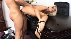Sultry blonde boss gets her sexy feet licked and her wet pussy fucked